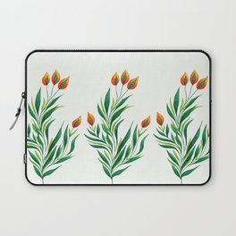 Abstract Green Plant With Orange Buds Laptop Sleeve