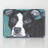 pit bull iPad Cases featuring Pedro the handsome Pit Bull  by heathercarey/fuzzymestudios