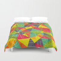 frame Duvet Covers featuring geo frame by Buster Fidez
