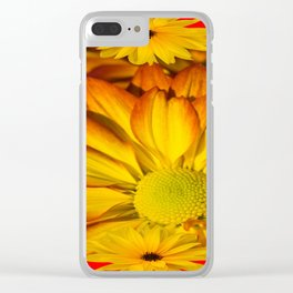 MODERN RED GOLDEN YELLOW SUNFLOWERS ART Clear iPhone Case