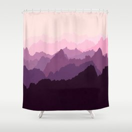 Mountains in Pink Fog Shower Curtain
