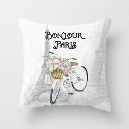 Vintage Bicycle Bonjour Paris Throw Pillow