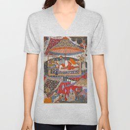 16th Century India Watercolor Painting Unisex V-Neck