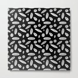 Many Autumn Plant Seeds Pattern in Black Metal Print