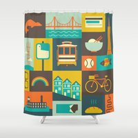 san francisco Shower Curtains featuring San Francisco by Ariel Wilson