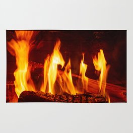 Wood burning in a fireplace Rug
