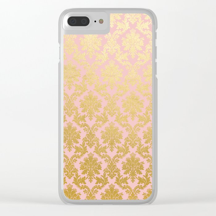 Princess like - Luxury pink gold ornamental damask pattern Clear iPhone Case