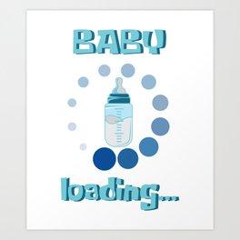Baby Loading Internet Pregnant Funny Gift Art Print
