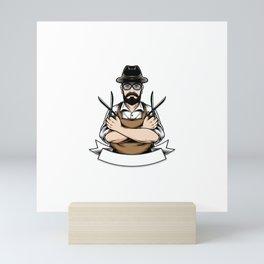 Barberman Holding Scissor Illustration Mini Art Print