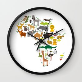map of Africa: parrot Hyena Rhinoceros Zebra Hippopotamus Crocodile Turtle Elephant Mamba snake Wall Clock