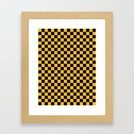 Black and Amber Orange Checkerboard Framed Art Print