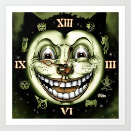 Black Cat 13 Halloween Clock Art Print