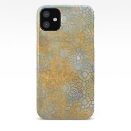 gold arabesque vintage geometric pattern iPhone Case