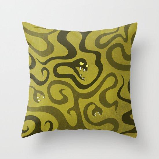 Funny Cartoon Evil Snakes Throw Pillow