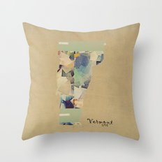 Vermont state map Throw Pillow