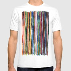 fancy stripes 1 Mens Fitted Tee MEDIUM White