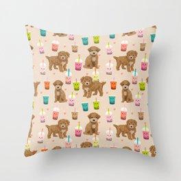 Bishpoo bubble tea kawaii food dog breed pet friendly pet portrait patterns Throw Pillow