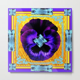 NOUVEAU DESIGN PURPLE PANSY &  AQUAMARINE GEMS Metal Print