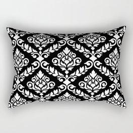 Prima Damask Pattern White on Black Rectangular Pillow