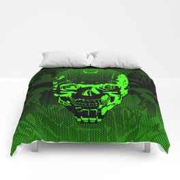 Gamer Skull CARTOON GREEN / 3D render of cyborg head Comforters