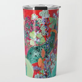 Red floral Jungle Garden Botanical featuring Proteas, Reeds, Eucalyptus, Ferns and Birds of Paradise Travel Mug