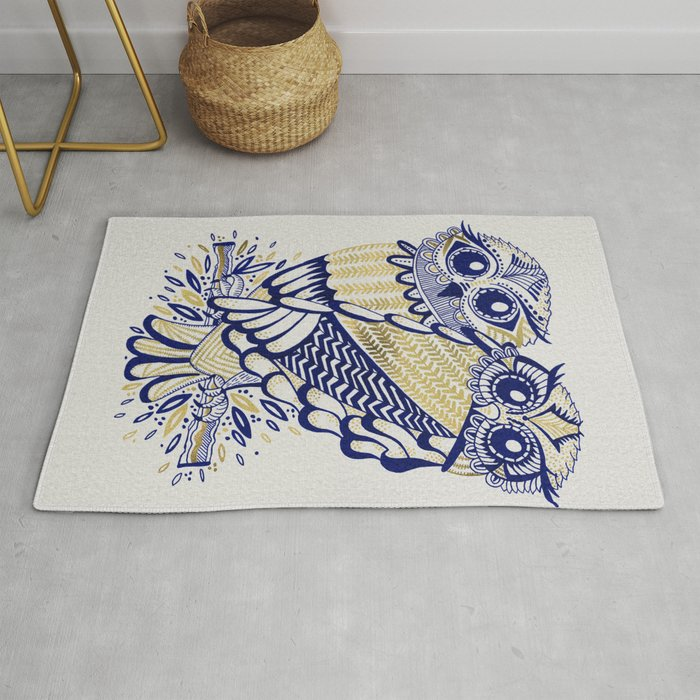 Owls – Navy & Gold Rug