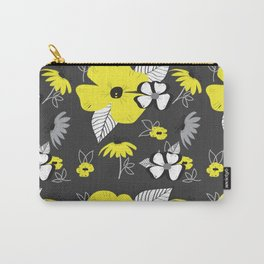 Yellow and Black Drawn Flowers on Gray Carry-All Pouch