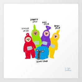 Spice Girls x Teletubbies Digital Illustration Art Print