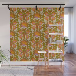 Orange, Pink Flowers and Green Leaves 1960s Retro Vintage Pattern Wall Mural