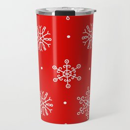 Christmas Ornate Snowflake Pattern 0n Holiday Red Background Travel Mug