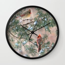 Winter Pair  #2 Cardinals Wall Clock