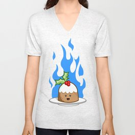 Flaming Pudding Unisex V-Neck