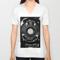 vintage camera V-neck T-shirts featuring Vintage Camera by Mark Alder