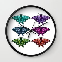 Technicolor Moth Collection Wall Clock