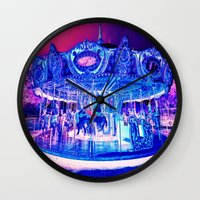 carousel Wall Clocks featuring Carousel Merry-G0-Round Pink Purple by Whimsy Romance & Fun