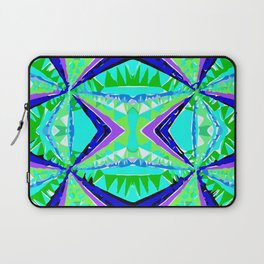 psychedelic geometric abstract pattern background in green purple blue Laptop Sleeve