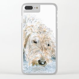 Sleeping Labradoodle Clear iPhone Case