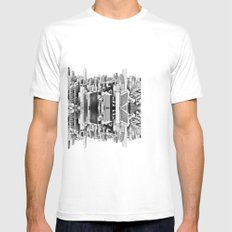 Mirror City White Mens Fitted Tee SMALL
