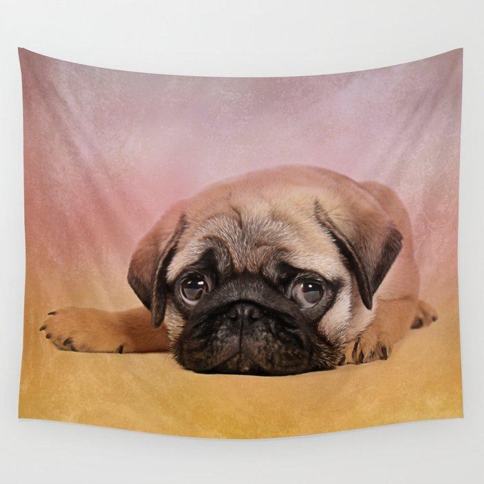 Pug puppy  Digital Art Wall Tapestry