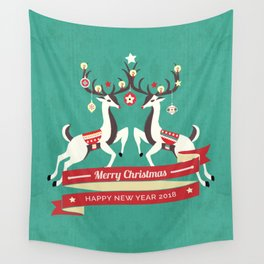 Christmas Deers with baubles Wall Tapestry