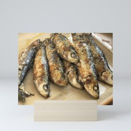 Sardines on a plate Mini Art Print