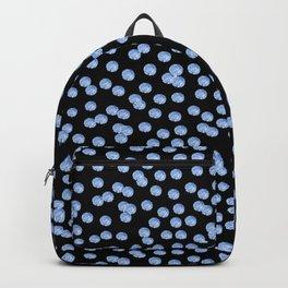 Blue Polka Dots on Black Pattern Backpack