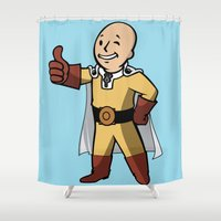 dragonball Shower Curtains featuring One punch boy - Parody by franz