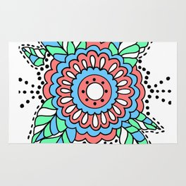 Flower with Leaves Doodle - Coral Green Blue Rug