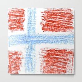 flag of norway 10 – Chalk version  snow,scandinavia,scandinavian,norwegian,oslo Metal Print