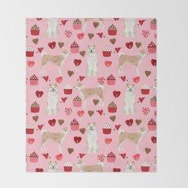 Akita valentines day cupcakes dog breed hearts pet portrait akitas pet friendly Throw Blanket