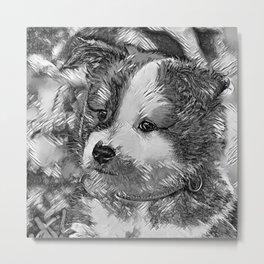 AnimalArtBW_Dog_20170802_by_JAMColorsSpecial Metal Print