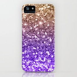 Luxury modern violet lilac faux gold sequins glitter iPhone Case