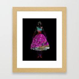 Audrey Pink Glitter Dress Framed Art Print