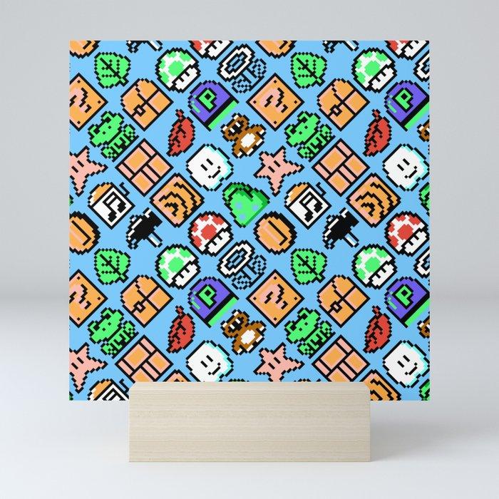 Super Mario Bros  3 (NES) items pattern with blue sky background Mini Art  Print by danteasano